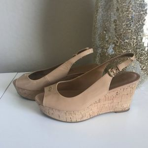 Coach Ferry Patent Leather Cork Wedge 7.5